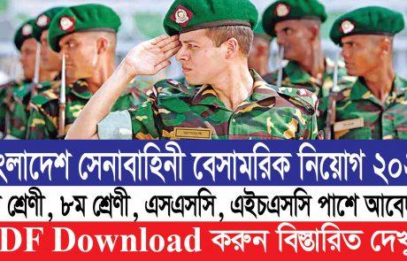 🔥 ৬২৮ পদে বাংলাদেশ সেনাবাহিনীর বেসামরিক পদে নিয়োগ 2021 || PDF Download